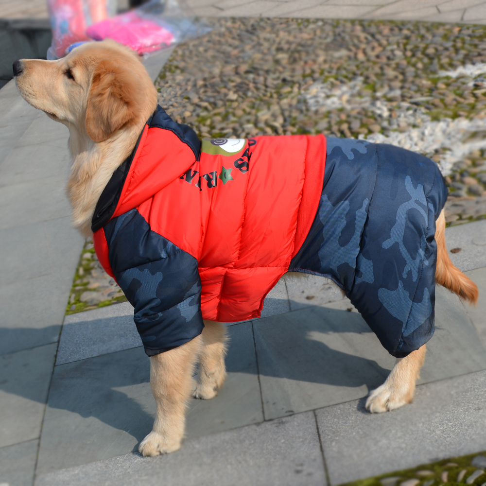 Thicken Large Dog Clothes Winter Waterproof Hoodie Jumpsuit Warm Coat Golden Retriever Big Dog Clothing Overalls Christmas Red