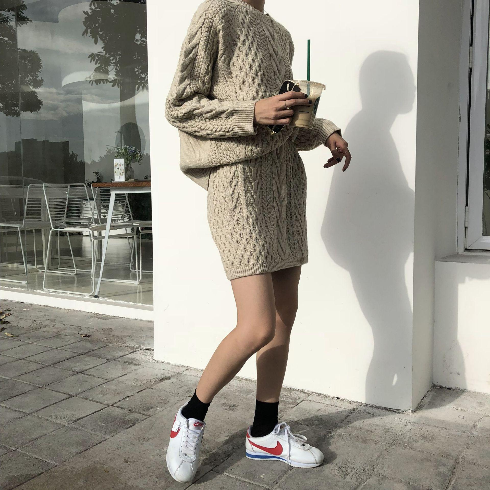 Poncho offre spéciale coton 2018 nouveau femmes tricot costume col rond décontracté à manches longues lâche pull + jupe deux pièces femme - 4