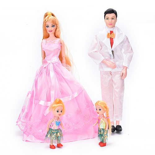 1 Conjunto de 4 personas, 1 mamá, 1 papá, 2 niñas pequeñas para barbie, niña, juguetes para jugar a las casitas muñecas de regalo, trajes de alta calidad
