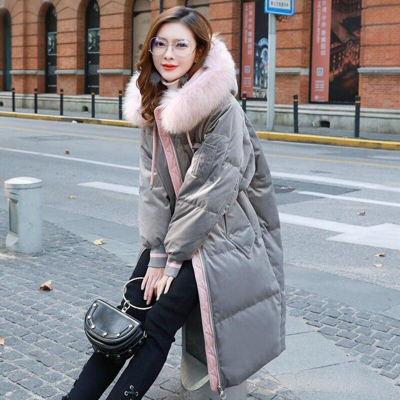 Épais À Vêtements Gray Capuchon Qualité Parka Pink Long De Manteau Canard Veste Haute Femelle Blanc Duvet Mode Chaud Femmes Hiver Or Velours 2018 ulF13TJKc