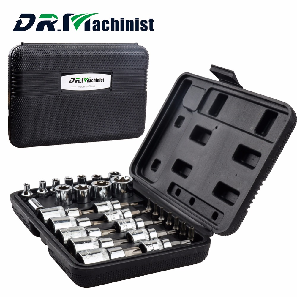 DR.Machinist 29PCS Star Set Male Female Sockets With 1/4 3/8 1/2 Torx Sq Drive Bit Universal Wrench Auto Car Repair Tools mainpoint 1 4 1 2 3 8 e socket sockets set cr v torx star bit combination drive socket nuts set for auto car repair hand tool