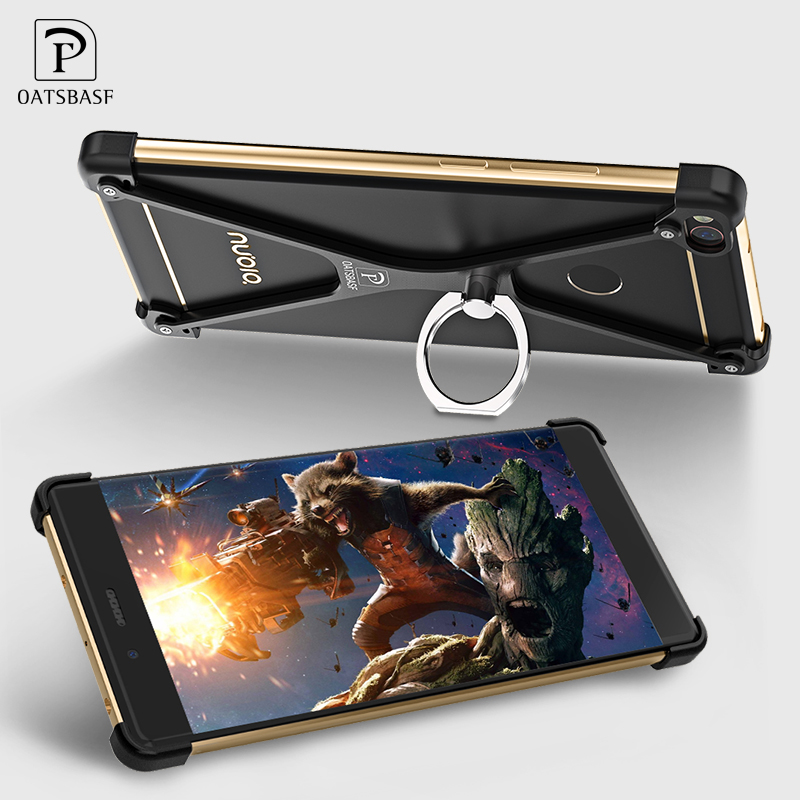 X Shape For ZTE Nubia Z11 Ultra-Thin Aluminum Metal Shockproof Bumper Mobile Phone Case Protect Frame Cover & Ring Holder