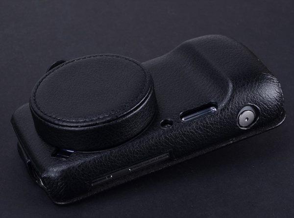 imágenes para Cuero genuino de calidad superior case para samsung galaxy s4 zoom SM c101 C1010 Lente Cubierta de cuero de Vaca con tapa del Objetivo (2 en 1)