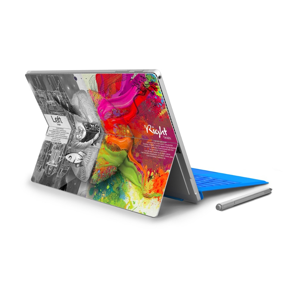 GOOYIYO - For Surface Pro 4 5 Vinyl Back Full Decal Tablet Netbook Ultrabook Painting Sticker Left&Right Brain Skin Logo Cut