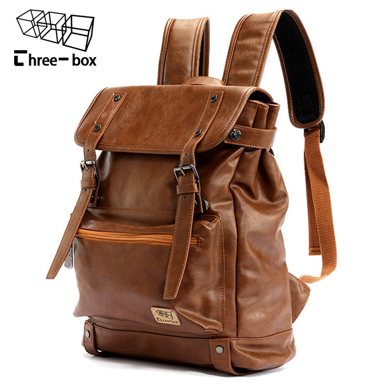 Imido Backpacks For Men Bag Pu Black Leather Mens Shoulder Bags Fashion Male Business Casual Teenage School Bag Brown Sld088 Backpacks