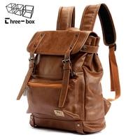Three box Brand Leather Men Backpack Women Korean Backpack Male Travel Casual Daypacks For Teenagers Back Pack Bagpack Mochila