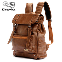 Three box Brand Leather Men Backpack Women Korean Backpack Male Travel Casual Daypacks For Teenagers Back Pack Bagpack Mochila