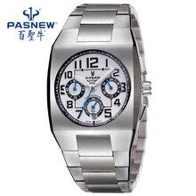 PASNEW Safira Aço Inoxidável Faixa de Relógio À Prova D' Água de Quartzo relógio de Pulso com o Japão o movimento para o Cavalheiro VA1040GSS