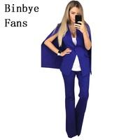 Binbye Fans Two Piece Set Fall Sexy Outfits Suits Single Button Cloak Blazer Top And Wide