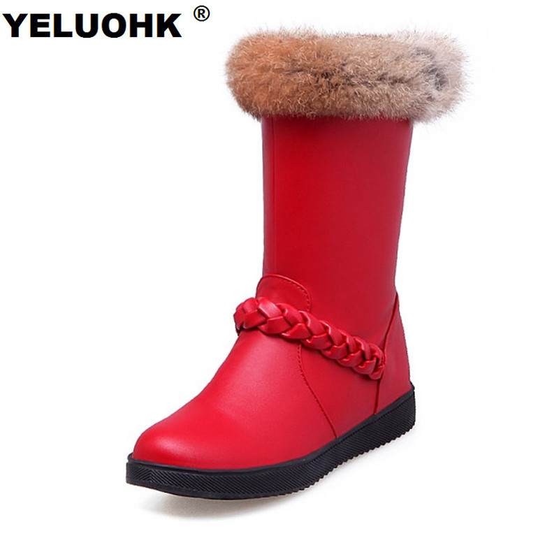 2017 Flat Boots For Women Winter Shoes Warm Mid Calf Boots Women Fur Snow Boots Female Winter Boots Ladies Shoes double buckle cross straps mid calf boots
