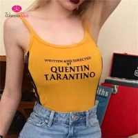 WannaThis QUENTIN TARANTINO Bodysuits Women Sexy Cotton Knitted Sleeveless Side Stripe Rompers Letter Printed Jumpsuits Playsuit