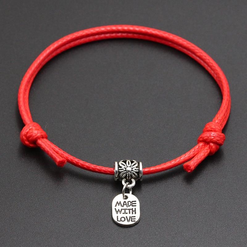 2020 New Made With Love Pendant Red Thread String Bracelet Lucky Black Coffee Handmade Rope Bracelet for Women Men Jewelry