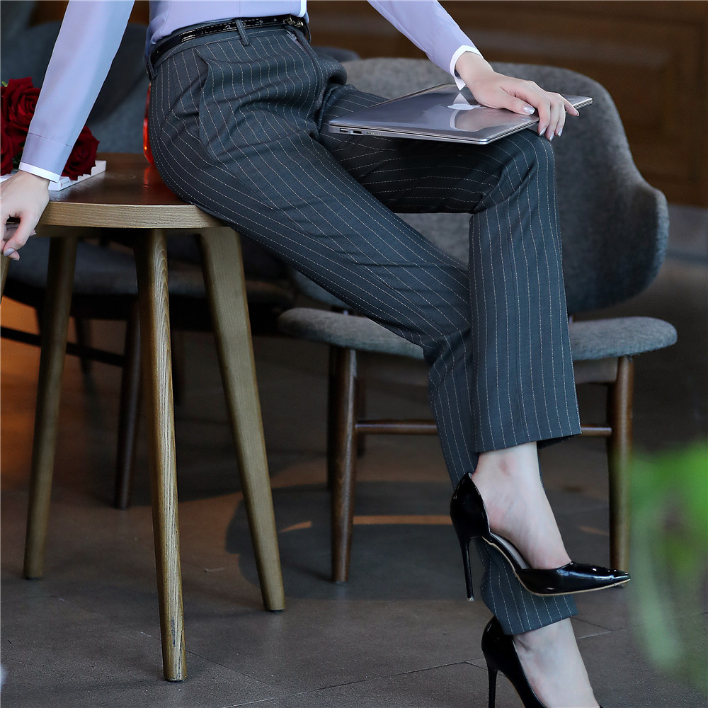 2018 New Full length professional business Formal pants women trousers girls slim female work wear Office Lady striped pants