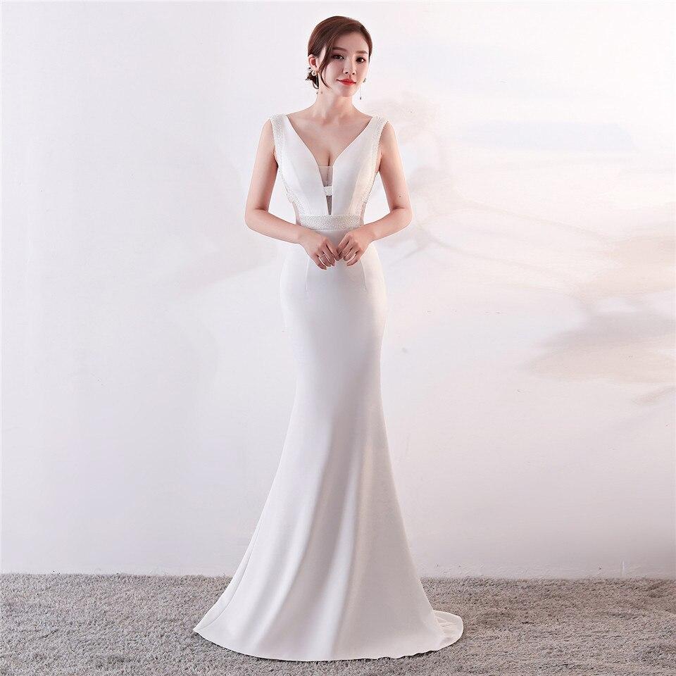 It's Yiiya Evening dresses Sleeveless Sexy V-neck Trumpet Party Gowns Floor-length Beading Zipper back Mermaid Prom dress C190
