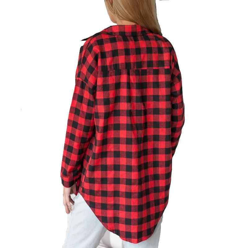 ブラウス女性の格子縞のシャツフランネルシャツ女性黒と赤のladieトップシュミーズ綿格子縞のシャツ女性カジュアルブラウストップスシャツ