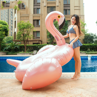 190CM Giant Inflatable Rose Gold Flamingo Swimming Float Ride on Water Toys Holiday Beach Pool Fun Boia INS Flamingo Swim Rings