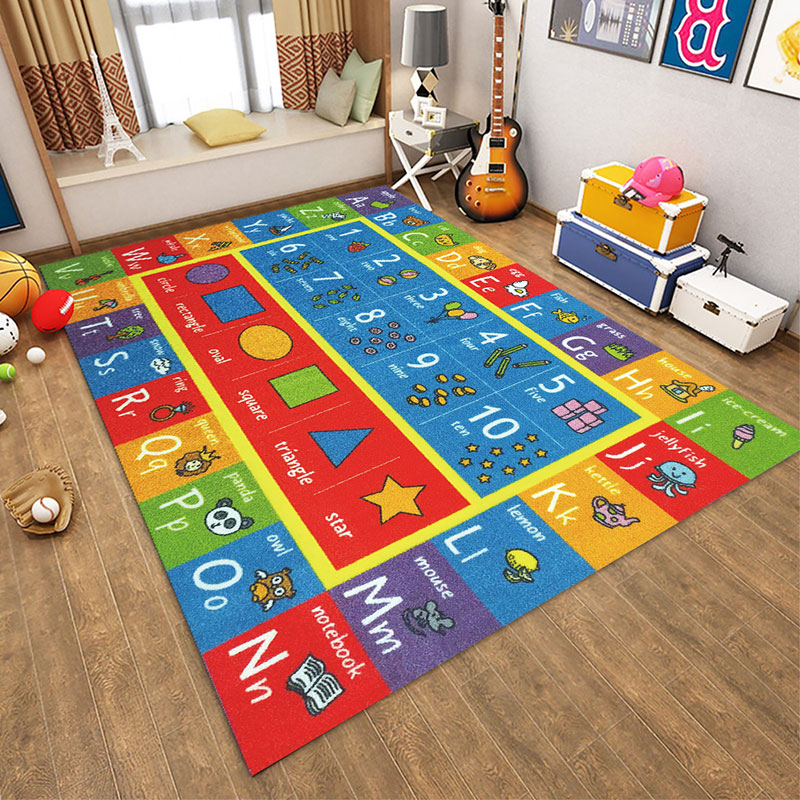 Baby Play Mat Letter Number Children Game Rug Kids Toys Anti-slip Soft Plush Carpet Puzzle Learning Gym Flannel Playmat