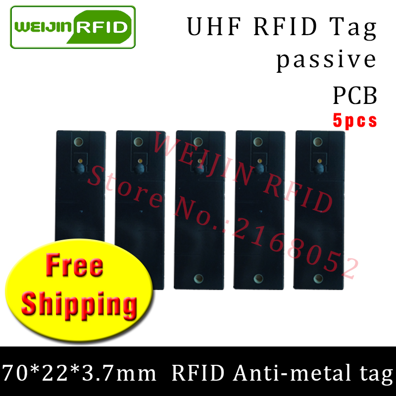 UHF RFID metal tag 915mhz 868mhz Alien H3 EPC 5pcs free shipping 70*22*3.7mm Mechanical equipment PCB smart passive RFID tags 2016 trays management anti metal epc gen2 alien h3 uhf rfid tag 50pcs lot