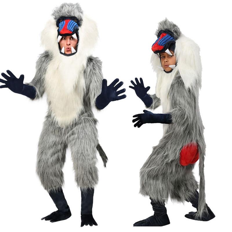 Gris babouin costume halloween costume drôle animal cosplay vêtements festival performance