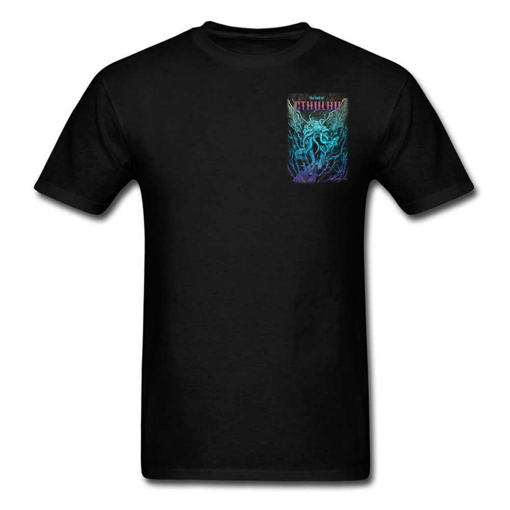 Lovecraft Tshirt untuk Pria Binatang Mimpi Buruk Cthulhu Desain 3D Digital Tee Kemeja Besar Tshirt 100% Katun
