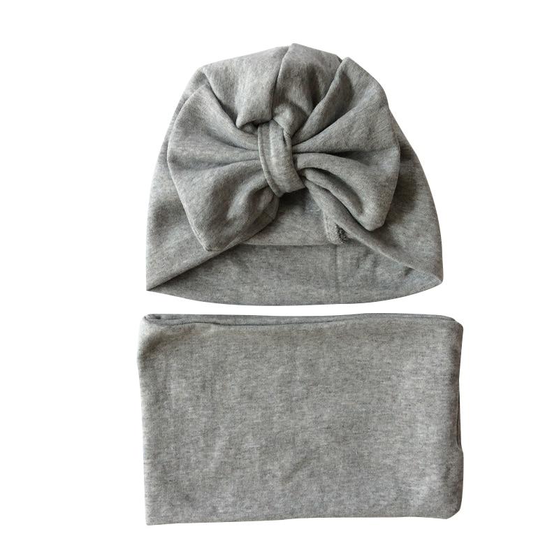 Baby Hoed Katoen Grote Boog Cap Voor Baby Meisjes Vlinder India Muts Sjaal Set Kinderen Winter Hoeden Caps