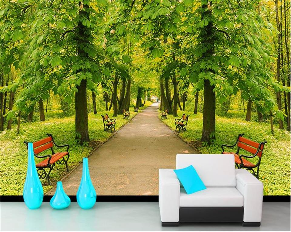 Superb Us 13 8 54 Off Custom 3D Photo Wallpaper Living Room Mural Forest Park Chair Scenery Photo Sofa Tv Background Non Woven Wallpaper For Wall 3D In Inzonedesignstudio Interior Chair Design Inzonedesignstudiocom