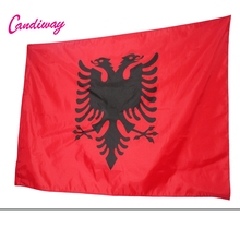 Albania Flag Double Headed Eagle OUTDOOR INDOOR BANNER ALBANIAN Arms 90*150cm National Flag parade/Festival/Home Decoration(China)