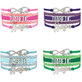 (10 PCS/Lot) Infinity Love Diabetic Awareness Hope Ribbon Charms Bracelets Gifts for Diabetics Baby Blue Purple Green Bracelets
