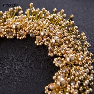 Image 5 - פנינים בעבודת יד כלה בגימור עם כתר כלה גבישי זהב/כסף חתונת שיער אבזר SQ0177