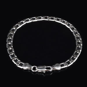 Silver Bracelets Wholesale Jewelry Cuban Chains Stainless-Steel Women Curb New-Fashion