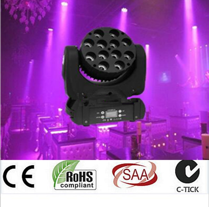 LED beam moving head light 12x12w rgbw 4in1 color with advanced 9/16 dmx channels for dj disco parties show lights