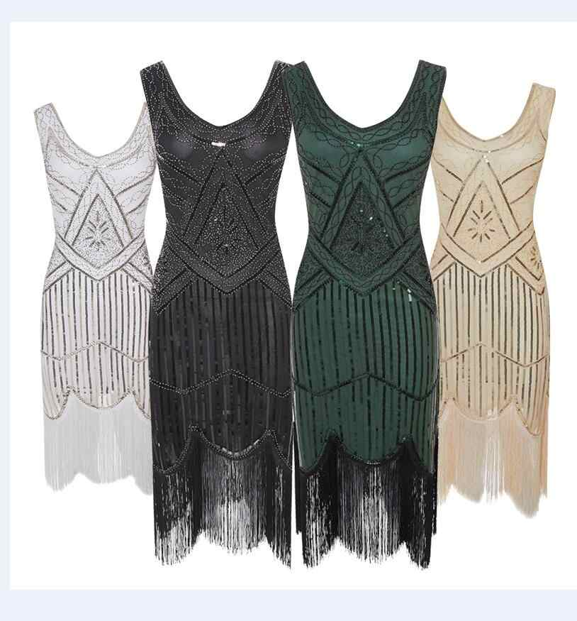 6a8f9c18 xs-2xl sequin fringe Flapper 1920s Gangster Gatsby Charleston Deluxe Sequin  Women Costume