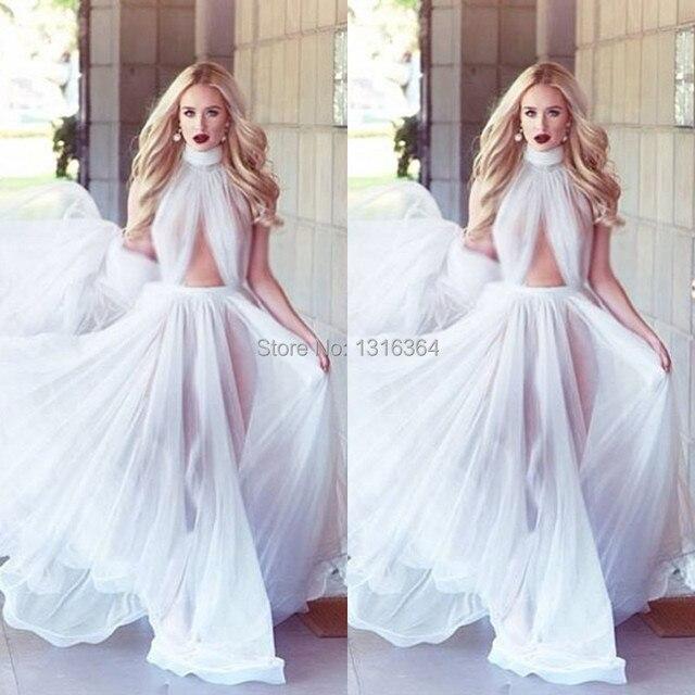 White Open Back Chiffon Flowing High Neck Floor Length Boho Prom