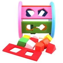 12 Holes Intelligence Box Shape Sorteer Matching Wooden Building Blocks Children Education Color Learning Wooden Box