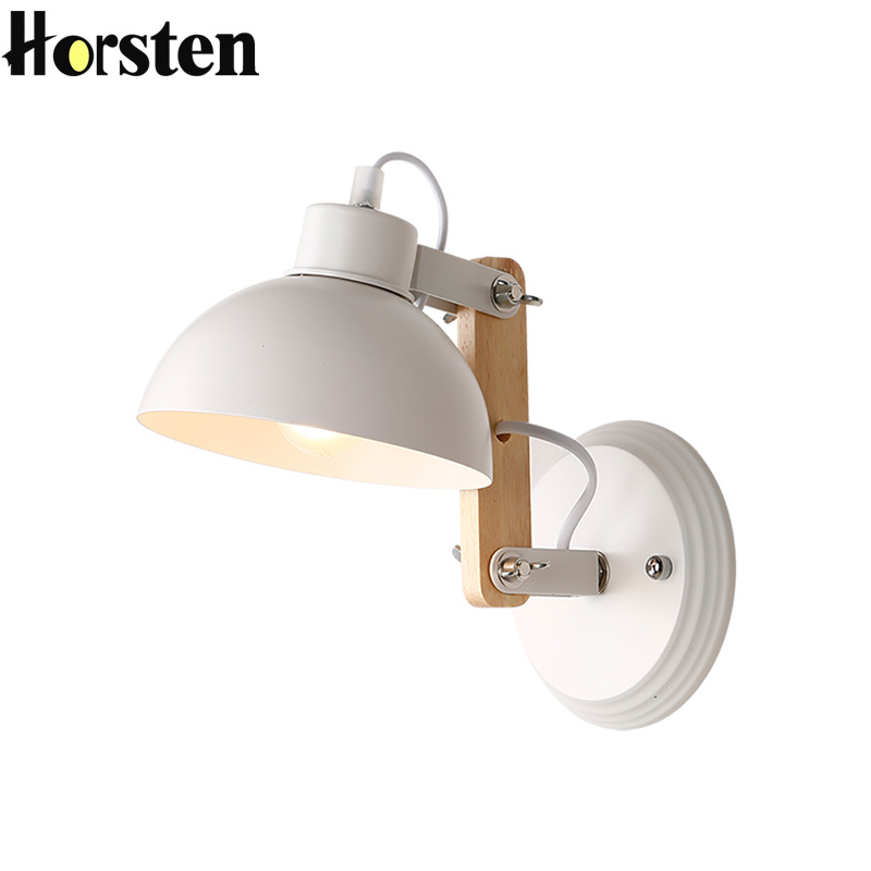 Horsten Korean Country Nordic Wall Lamp Simple Wooden Iron Bedroom Bedside Wall Lights Adjustable Swing Arm Wall Sconces