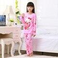 Pijamas para niñas 2016 nueva primavera y otoño seda de la leche de manga larga pijamas de dibujos animados los niños grandes niños pijama conjunto