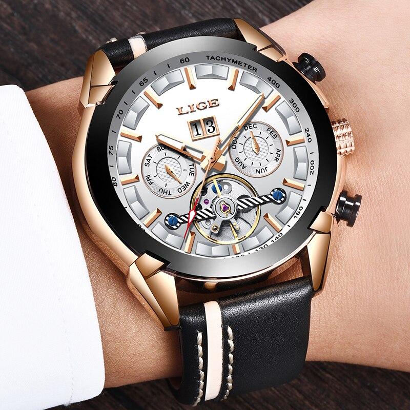 LIGE hommes montres Top marque de luxe automatique mécanique montre en cuir étanche Sport montre hommes Date entreprise horloge Reloj Hombre - 5