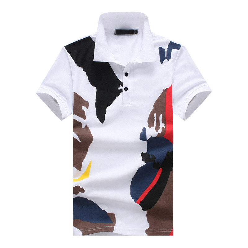 Summer Men's Brand Tops Fashion Business Casual Slim Breathable European Sizes High Quality Cotton Camo Short-Sleeve   Polo   Shirt
