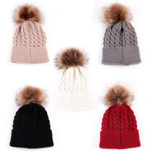 Thefound Fashion Women Baby Warm Winter Knit Wool Beanie Fur Pom Bobble Hat Crochet Ski Cap цены