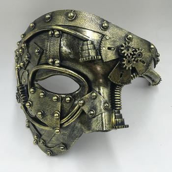 Steampunk Phantom Masquerade Cosplay maska piłka pół twarzy mężczyzn strój punkowy impreza z okazji halloween rekwizyty kostiumowe tanie i dobre opinie liser Maski Unisex Dla dorosłych Kostiumy Z tworzywa sztucznego Steampunk mask Half Face mask Gold silver party mask