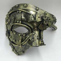 Steampunk Phantom Masquerade Cosplay Maschera Palla A Metà Viso Uomini Punk Costume di Halloween Costume Party Props