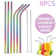 8Pcs 6mm Reusable Rainbow Straight Curved Drinking Straw Stainless Steel Cutlery