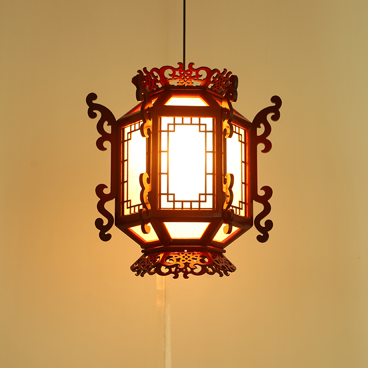 Chinese pendant light Antique Sheepskin Lantern Wood Hotel Hotel Balcony Restaurant Retro Lamps Court pendant Lamps wl5030929