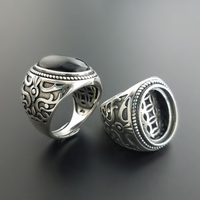925 Sterling Silver Mens Vintage Stone Rings Hollow Coins Double Layers Design Natural Black Onyx Oval Shape Big Rings
