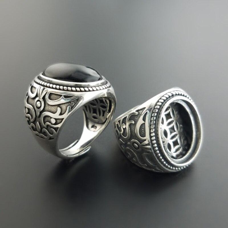 925 Sterling argent hommes Vintage pierre anneaux creux pièces Double couches Design naturel noir Onyx forme ovale grands anneaux