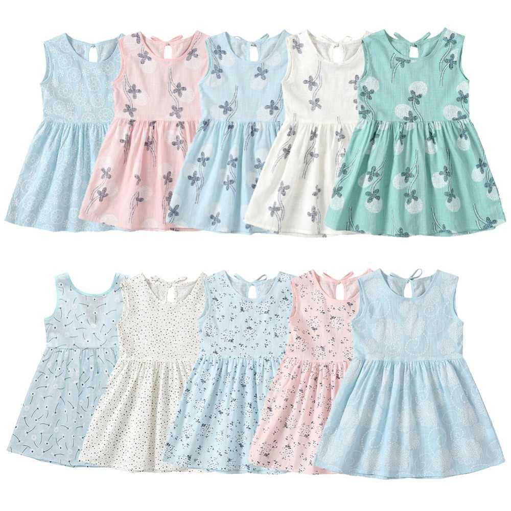 Детские летние платья для девочек Цветочный принт хлопок без рукавов с бантом