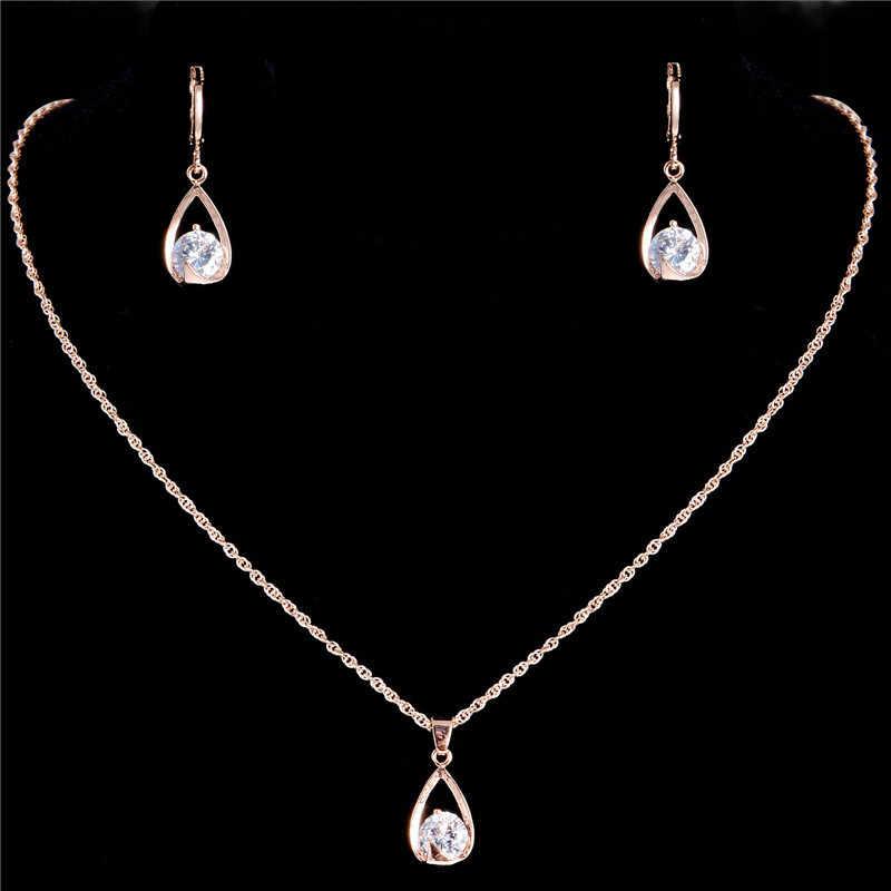 MISANANRYNE חמה חתונת תכשיטי סטי נשים זהב צבע אדום/לבן ואטארדרוף CZ זירקון שרשרת עגילים