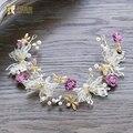 Moda headband da flor da borboleta do ouro mulheres hairband fascinator pérola da coroa de noiva acessórios do cabelo do casamento headpiece px040