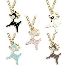Creative DIY Cartoon Deer Fashion Pendant Necklace Woman Alloy Gold Pendant Chain Necklace Women's Accessories Dropshipping new fashion creative diy rose pendant gold alloy a rose necklace charm woman valentine s day plant chain necklace jewelry gift