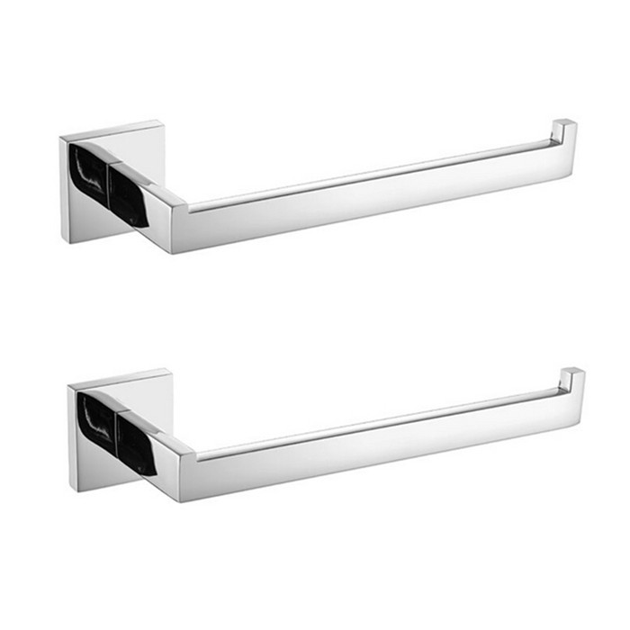 Free Shipping 2 Pieces Stainless Steel Bathroom Towel Holder Square  Polished Bath Holders For Towel Ring